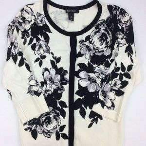 White House Black Market Floral/Jeweled Sweater